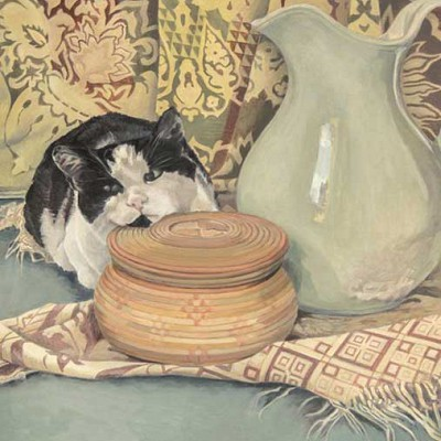 Still life cat and vase