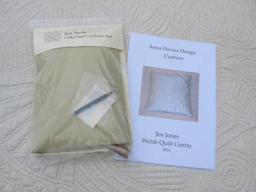 Anna Davies cushion kit with golden sand material